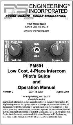 PM501 Intercom Manual