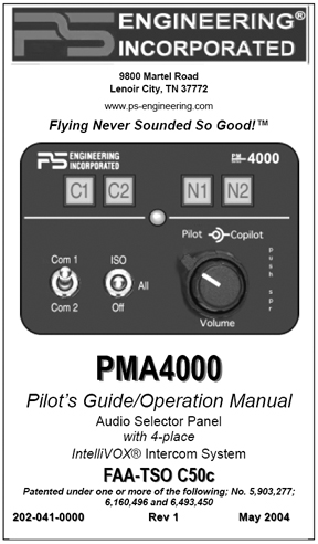 PMA4000 Audio Panel/Intercom Manual