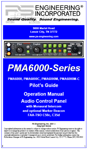 PMA6000-series Audio Panel Manual