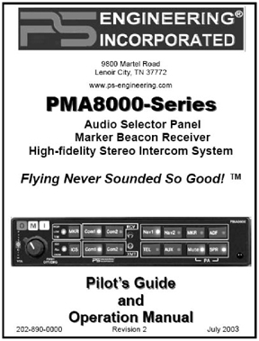 PMA8000 Audio Panel Manual