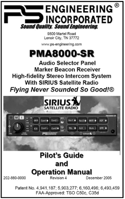 PMA8000-SR Audio Panel/Satellite Radio Manual